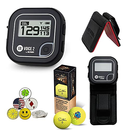 GolfBuddy Voice 2 Golf GPS/Rangefinder Bundle with 1 Magnetic Hat Clip and 5 Ball Markers and Saintnine 3 Ball Sleeve and Belt Clip (Black)