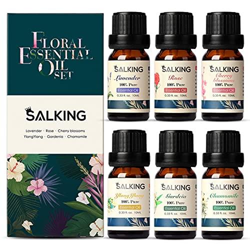 SALKING Ätherische Öle Set, Aromatherapie Duftöl GeschenkSet, 100% Bio Duftöle für Diffuser Duftlampen Luftbefeuchter, Massage, 6 x 10 ml (Lavendel, Rose, Kirschblüte, Ylang Ylang, Gardenie, Kamille)