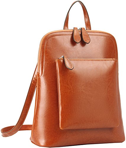 Heshe Women Leather Backpack Casual Daypack Sling Backpack Purse for Ladies and Girls (Brown-R-S)