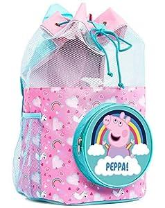 Peppa Pig Bolsa de Playa, Mochila Infantil para Natación, Bolso Mochila de Cuerdas Transparente, Saco Neceser Playa, Regalos para Niñas, Bolsa Deporte Niña