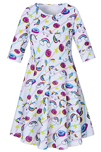 Toddle Girls Unicorn Clothing Cute Ice Cream 3D Printed Dresses Stripe Long Sleeve A-line Donut White Frocks for All Season Crew Neck 1 PC Skirts for 4-5 Years