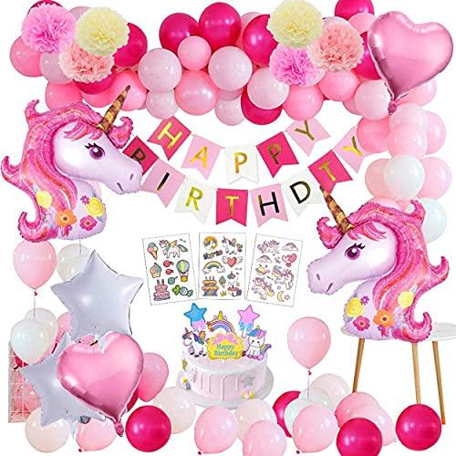 Einhorn Geburtstagsdeko,MMTX 48 Stück 3D Einhorn Party Geburtstagsdeko Mädchen,Rosa Einhorn Ballon Mädchen Geburtstag Dekoration Ballon Set.