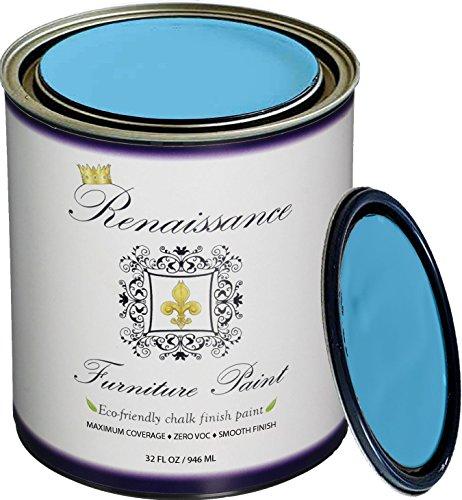 Retique It Chalk Finish Paint by Renaissance - Non Toxic, Eco-Friendly Chalk Furniture & Cabinet Paint - 32 oz (Quart), Celestial Blue