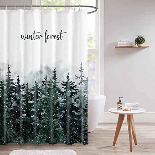 """Guiffly Duschvorhang, Wasserfeste Bad Vorhang aus Polyestergewebe mit 12 Haken, Duschvorhang Waschbar, Winterwald 72""""x72""""(180x180cm)"""