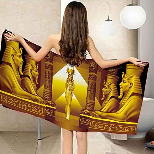 CGBNDS Toalla de Playa Mujer Reina egipcia Amarilla Toalla de Playa 95X180cm Grande de Microfibra de Toalla de baño Toalla de Mano Secado Rápido para Manta de Playa Picnic y baño