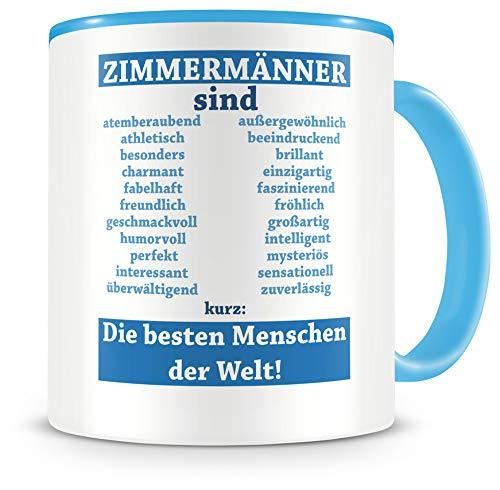 Samunshi® Zimmermänner sind Tasse Beruf Geschenk Kaffeetasse Teetasse Kaffeepott Kaffeebecher Becher (Zimmermänner sind. 300ml hellblau/hellblau)