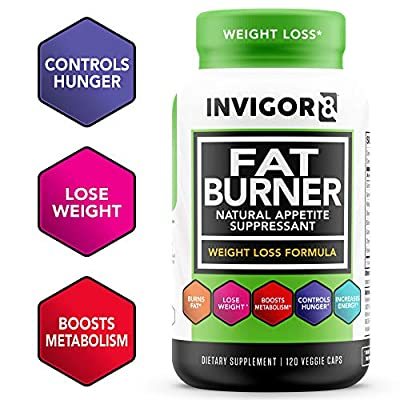 INVIGOR8 Fat Burner and Natural Appetite Suppressant – Healthy Weight Loss Formula and Thermogenic with Green Tea Leaf Extract