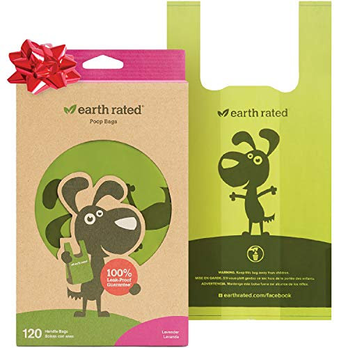 Earth Rated Easy-Tie Dog Poop Bag - 120 Doggie Waste Bags - Extra Thick Lavender-Scented Doggy Poo Bags with 100% Leak-Proof Guarantee