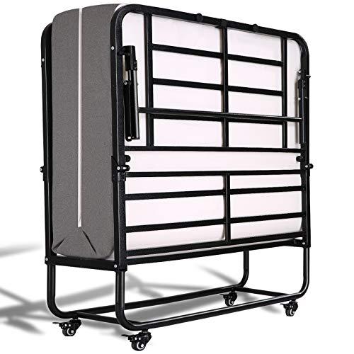 Smile Back Klappbett Gästebett Klappbar Erwachsene 191x96 cm mit 13cm Dicker Gedächtnisschaum Matratze Metall-Rahmen Platzsparend, Kein Werkzeug Erforderlich, Einfach Zusammenzubauen