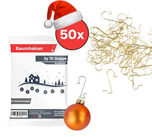 50x Haken Baumhaken gold Schnellaufhänger Aufhänger Kugelaufhänger für Christbaumkugel, Weihnachtskugeln, Aufhänger in S Form für Weihnachten & Weihnachtsschmuck (50x Stück gold)