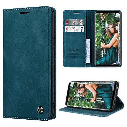 RuiPower pour Coque Samsung Galaxy S9 Cuir Etui Samsung Galaxy S9 Housse Premium PU Portefeuille [Magnétique] [Porte Cartes] [Stand Fonction] Protection Coque Rabat Samsung S9 - Bleu-Vert