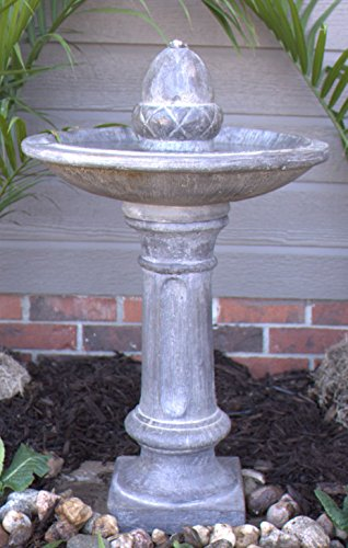Pebble Lane Living Exclusive Electric Outdoor LED Lighted Stone Finish Pillar Fountain