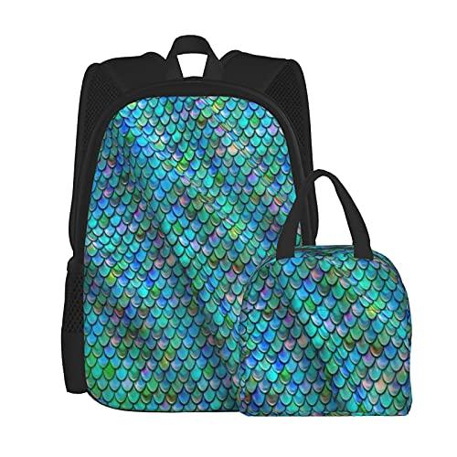 The Glittering Scales Of The Fish - Juego de mochila para ordenador portátil universitario, bolsa de hombro, bolsa escolar con bolsa de almuerzo de 2 piezas, Negro, Talla única
