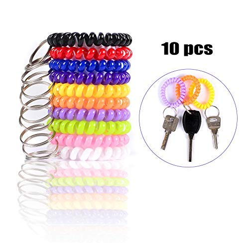 Spiral Keychain Rings Coil Bracelet Holder Stretchy Wrist Key Chains for Office/Work/Sauna/Exercise and Outdoor Activities, Assorted Colors Suitable for Kids/Women/Men, Pack of 10pcs
