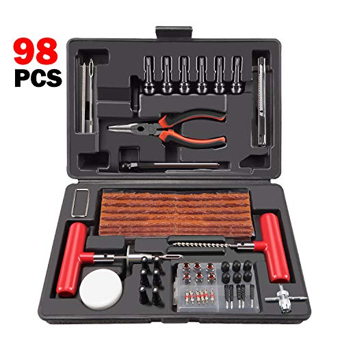 Ayleid Tire Repair Kit 98 PCS Universal Tire Plug Kit Fix Punctures and Plug Flat Tools for Car, Truck, RV, ATV, Motorcycle, Trailer