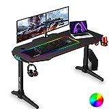 Gaming Tisch RGB 140cm, ESGAMING Groß Gaming Schreibtisch PC Tisch mit Mausunterlage, Getränkehalterung und Kopfhörerhaken Kohlefaser Tischplatte