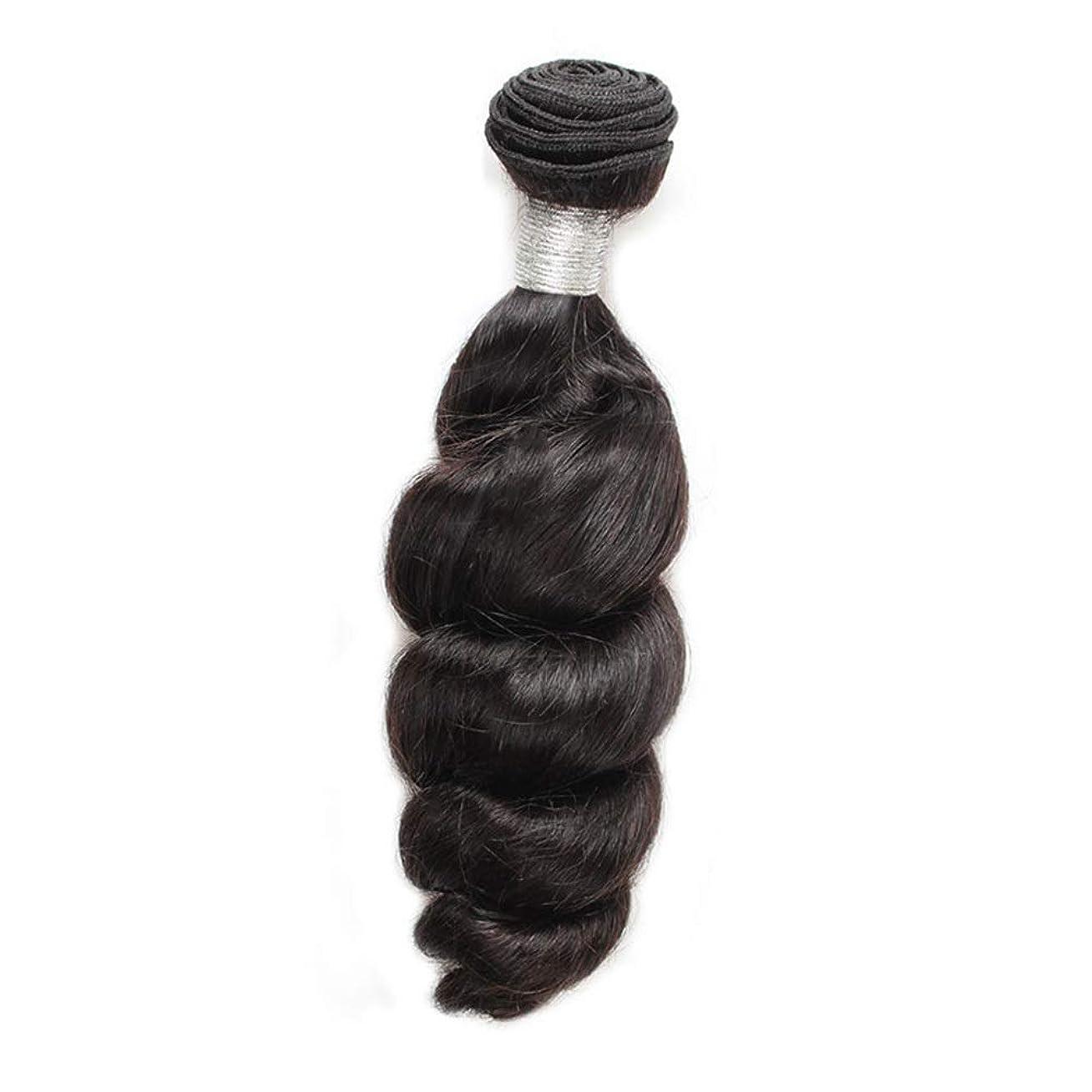 粘液マージン誠実YESONEEP 女性の人間の髪の毛ブラジルのバージンルースウェーブの束横糸ナチュラルブラック100g /個1枚入り(12インチ-26インチ)合成髪レースかつらロールプレイングかつらストレートシリンダーショートスタイル女性自然 (色 : 黒, サイズ : 12 inch)