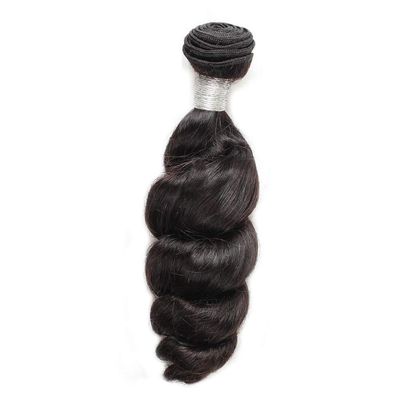 BOBIDYEE 女性の人間の髪の毛ブラジルのバージンルースウェーブの束横糸ナチュラルブラック100g /個1枚入り(12インチ-26インチ)合成髪レースかつらロールプレイングかつらストレートシリンダーショートスタイル女性自然 (色 : 黒, サイズ : 16 inch)