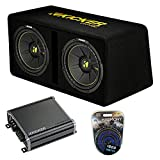 Kicker Bundle Compatible with Universal Vehicle 44DCWC122 CompC Ported Dual 12' Loaded Sub Box with 46CXA8001 Amplifier and HA-AK4 4 Gauge Amp Install Kit