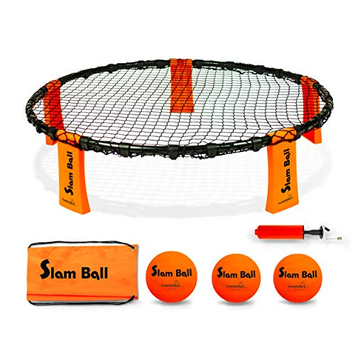 Slam Ball Game - Spike The Ball into The Net at a Park, Beach, Lawn and Backyard – Rally, Set, Smash or Spike Game – Includes Playing Net, 3 Balls, Carrying Bag and Rules