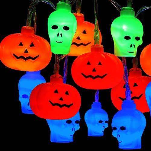 Brizled Skull Pumpkin Halloween Lights, 32 LED 13.12ft Pumpkin Lights Skull Lights String, Battery Jack-O-Lantern Halloween String Lights, Indoor & Outdoor Party and Halloween Decorations, Multicolor