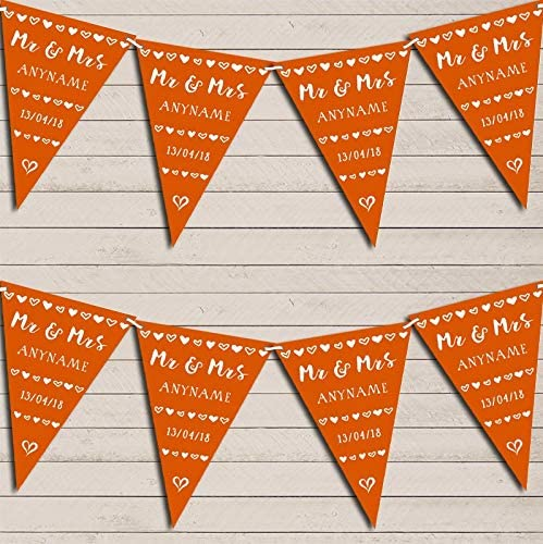 Mr Recommendation Mrs Hearts Max 88% OFF Orange Wedding Day Party Married Bunting Garland