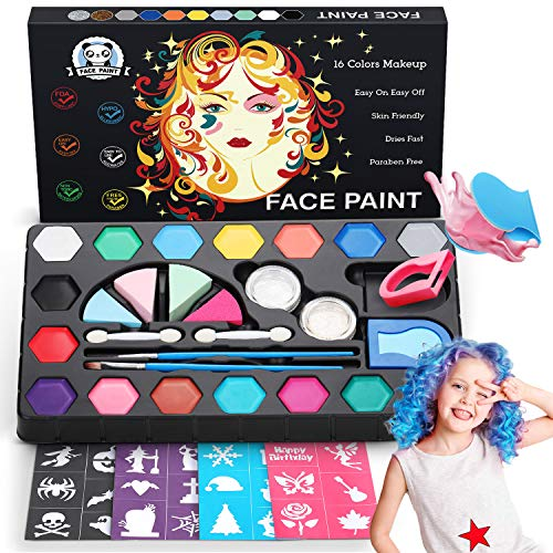 Dookey Kinderschminke Set, mit 2 Haarkreide, 16 Schminkfarben Make-up Bodypainting Face Paint , 2...