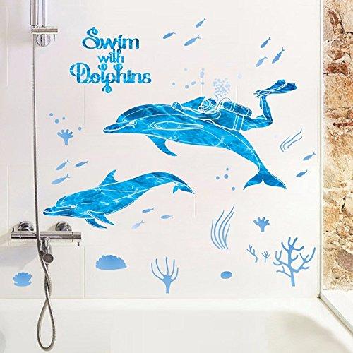 HCCY Kinderkamer muur creatieve duiken dolfijn muur schilderijen op de muur van de muur sticker gezondheid badkamer glas stok aan de waterdichte
