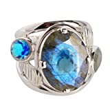 Auténtica labradorita y topacio azul piedra preciosa 925 anillo de plata de ley maciza para niñas Sz7 FSJ-728