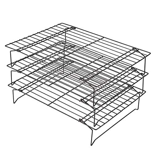 3-Tier Cooling Racks, Foldable Bakers Rack Stainless Steel Baking Rack for Biscuit Cake Bread