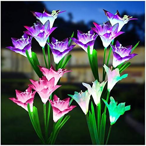 Outdoor Solar Lights KOOPER 4 Pack Solar Garden Lights with 16 Bigger Lily Flowers Waterproof product image