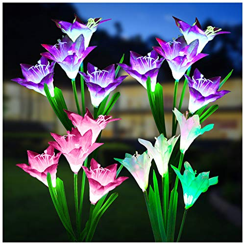 Outdoor Solar Lights, KOOPER 4 Pack Solar Garden Lights with 16 Bigger Lily Flowers, Waterproof 7 Color Changing Outdoor Lights - Bigger Solar Panel for Garden Patio Yard Pathway Decoration…