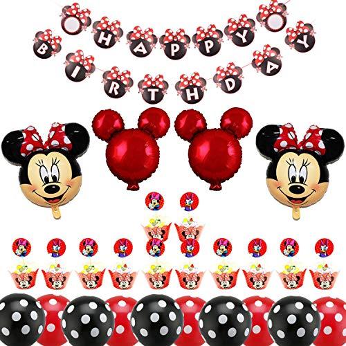Decoración de Fiesta de Cumpleaños de Minnie, BESTZY Globos de Cumpleaños Artículos para la fiesta de Minnie para Baby Shower de Ccumpleaños(Rojo)