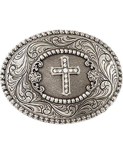 Nocona Women's Rhinestone Cross Belt Buckle Silver One Size