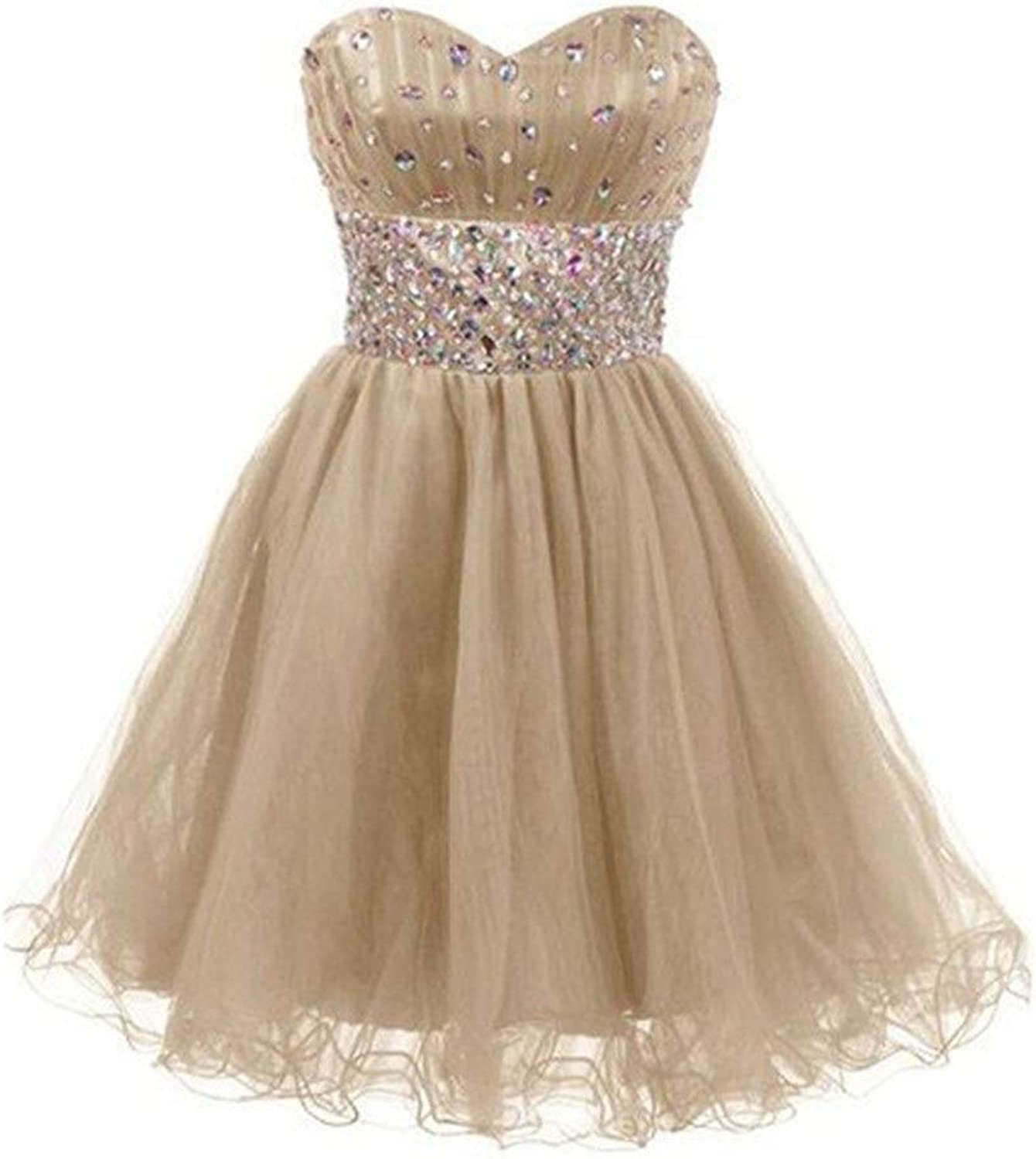 Bridesmaid Dress Women's Tube Top Beads Vintage Collection Small Dress Short Dress Sexy Dress for Formal Prom (color   Champagne, Size   US12)