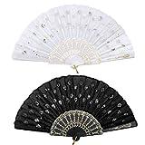 iZoeL Abanicos plegables de encaje de mano, 2 unidades, color blanco y negro, con lentejuelas, para mujer, para bodas, cumpleaños, fiestas, decoración, regalos de baile, decoración de paredes