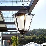 Mopoq Alluminio Creativo soffitto Ciondolo Appeso Luce Europea antiruggine Lanterna IP55 Impermeabile Lanterna appesa for Casale Comunità Gazebo Esterno Chandelier (Color : Nero)