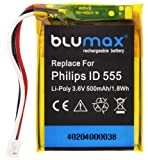 Blumax - Batería para Philips ID 555, ID 5551B, ID 5552B y MC-163-500 (litio en polímero, 500mAh)