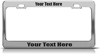Product Express Premium Aluminum Black License Plate Frame Custom Personalized Tag Chrome