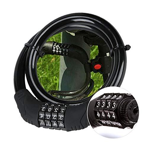 自転車用パスワードロック盗難対策コンビネーション番号コード自転車ロックスチールケーブルチェーンセキュリティ安全ロック自転車サイクルアクセサリー自転車ロック (Color : Black)