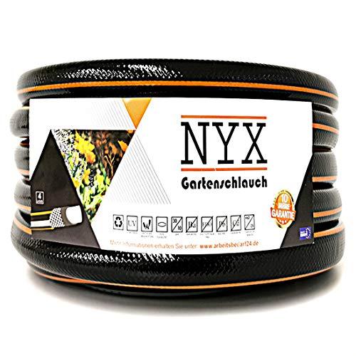 """Gartenschlauch 3/4\"""" NYX Premium 10 Jahre Garantie 4 lagig Wasserschlauch Bewässerungsschlauch schwarz/orange (50)"""