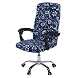 smiry Stretch Printed Computer Office Chair Covers, Soft Fit Universal Desk Rotating Chair Slipcovers, Removable Washable Anti-Dust Spandex Chair Protector Cover with Zipper (Navy Floral)