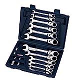 KS Tools 503.4868 Gearplus - Maletín de llaves combinadas flexibles y adaptadores (18 piezas, 8-19 mm, se pueden bloquear)