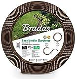 BRADAS - Bordo flessibile per prato, 10 m + 20 montanti di fissaggio/ancoraggio da giardino, bordo erba, bordo per aiuole, bordo per aiuole, delimitazione per piante, colore: marrone