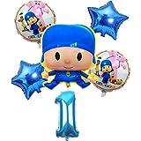 ZJWDM 6Pcs / Lot Globos De Papel De Aluminio Pocoyo Set Baby Shower Fiesta De Cumpleaños Bautizo Decoración Suministros Niños Figura De Dibujos Animados Estilo B1