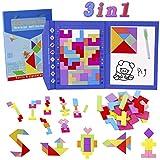 HVDHYY Tetris de Madera Magnético Tangram Puzzles 47 Piezas de Rompecabezas Viaje Jigsaw Educativos Montessori Juguetes Viene como Regalos de Cumpleaños para Niños y de Navidad 3 en 1