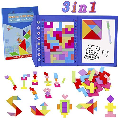 HVDHYY Tetris Giochi Legno Tangram Puzzle di Legno Magnetico Puzzles da Viaggio 47Pz / 3 in 1 Jigsaw e Giocattoli Montessori, Un Tavolo da Disegno con Una Penna Cancellabile (900 Patterns)