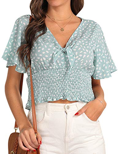Blooming Jelly Women's Chiffon Blouses V Neck Front Tie Crop Top Ruffle Short Sleeve Shirt(Green,M)