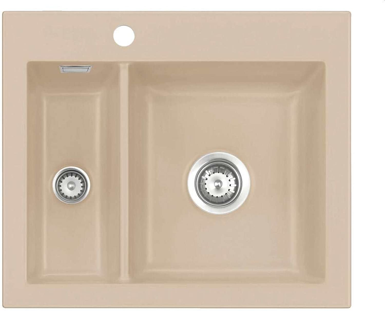 Systemceram Mera 60 Sand Keramik-Spüle Handbettigung Hellbraun matt Einbauspüle