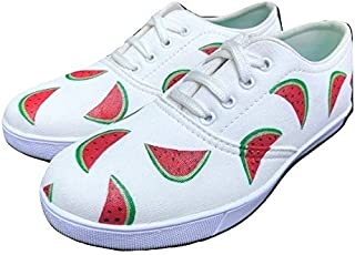 FUNKY N TRENDY Watermelon White Hand Painted Waterproof Women's Canvas Shoes